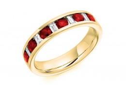 18ct Yellow Gold Ruby & Diamond Baguette & Round Brilliant Cut Half Eternity Ring 0.80ct