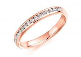 18ct Rose Gold Round Brilliant Cut Diamond Half Eternity Ring 0.22ct