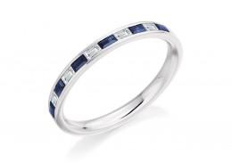18ct White Gold Sapphire & Diamond Baguette Cut Half Eternity Ring 0.42ct