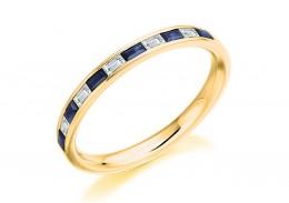 18ct Yellow Gold Sapphire & Diamond Baguette Cut Half Eternity Ring 0.42ct
