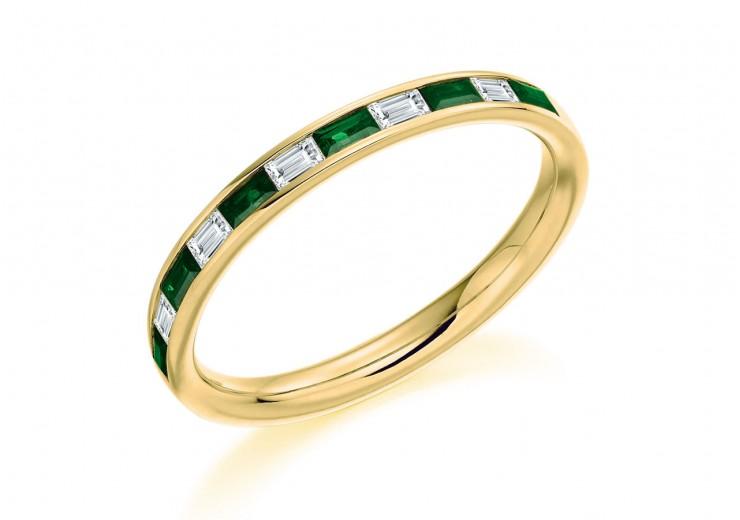 18ct Yellow Gold Emerald & Diamond Baguette Cut Half Eternity Ring 0.42ct
