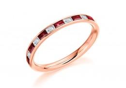 18ct Rose Gold Ruby & Diamond Baguette Cut Half Eternity Ring 0.51ct