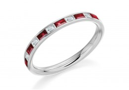 18ct White Gold Ruby & Diamond Baguette Cut Half Eternity Ring 0.51ct