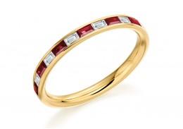 18ct Yellow Gold Ruby & Diamond Baguette Cut Half Eternity Ring 0.51ct