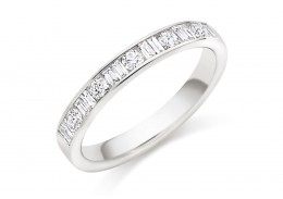 18ct White Gold Round Brilliant & Baguette Cut Diamond Half Eternity Ring 0.50ct