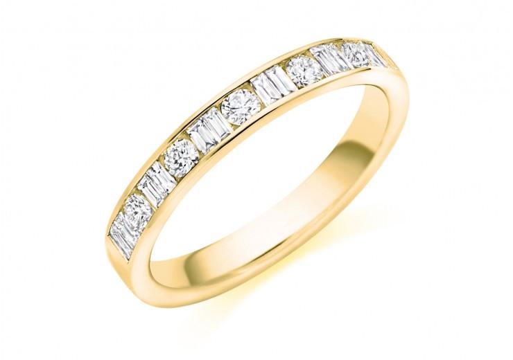 18ct Yellow Gold Round Brilliant & Baguette Cut Diamond Half Eternity Ring 0.50ct