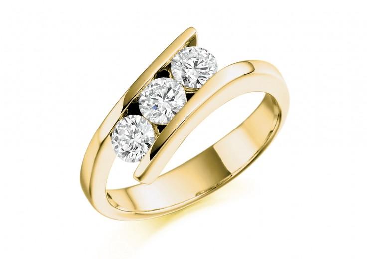 18ct Yellow Gold Round Brilliant Cut Diamond Trilogy Ring 0.75ct