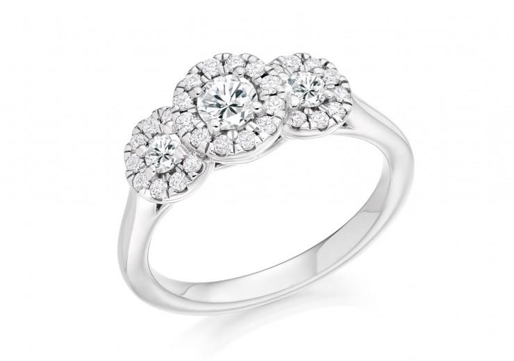 18ct White Gold Round Brilliant Cut Diamond Trilogy Ring 0.75ct