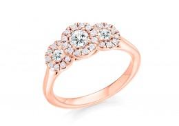 18ct Rose Gold Round Brilliant Cut Diamond Trilogy Ring 0.75ct