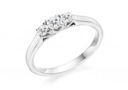 18ct White Gold Round Brilliant Cut Diamond Trilogy Ring 0.40ct