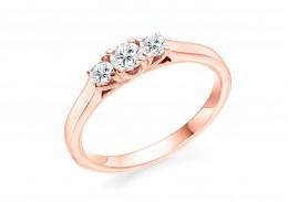 18ct Rose Gold Round Brilliant Cut Diamond Trilogy Ring 0.40ct