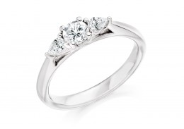 18ct White Gold Pear & Round Brilliant Cut Diamond Trilogy Ring 0.50ct