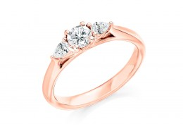 18ct Rose Gold Pear & Round Brilliant Cut Diamond Trilogy Ring 0.50ct