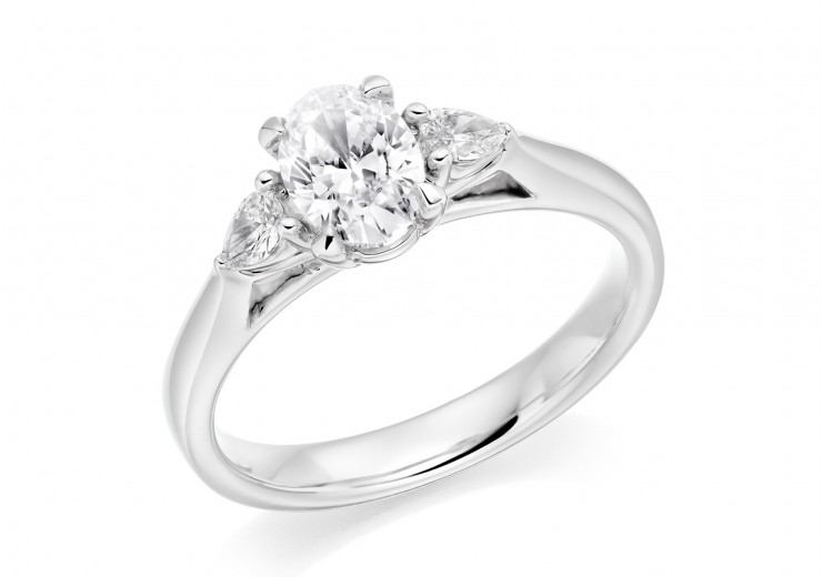 18ct White Gold Oval & Pear Cut Diamond Trilogy Ring 0.70ct