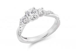 18ct White Gold Round Brilliant Cut Diamond Trilogy Ring 0.98ct