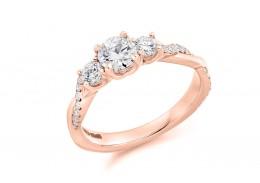 18ct Rose Gold Round Brilliant Cut Diamond Trilogy Ring 0.98ct
