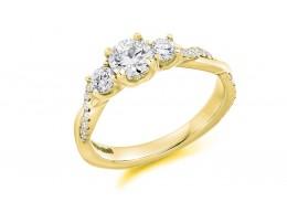 18ct Yellow Gold Round Brilliant Cut Diamond Trilogy Ring 0.98ct