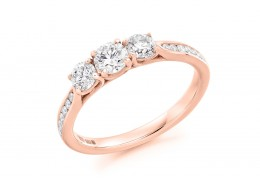 18ct Rose Gold Round Brilliant Cut Diamond Trilogy Ring 0.82ct