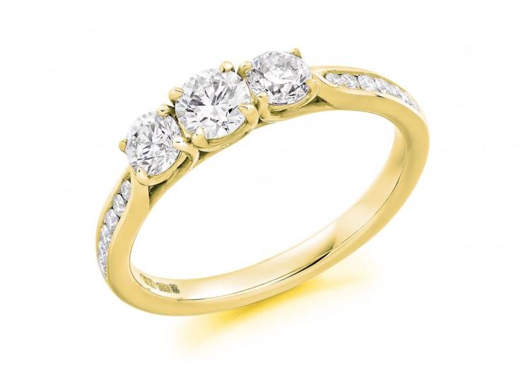 18ct Yellow Gold Round Brilliant Cut Diamond Trilogy Ring 0.82ct