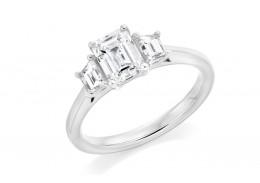 18ct White Gold Emerald & Trapeze Cut Diamond Trilogy Ring 1.41ct