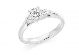18ct White Gold Pear & Round Brilliant Cut Diamond Trilogy Ring 0.71ct