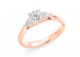 18ct Rose Gold Pear & Round Brilliant Cut Diamond Trilogy Ring 0.70ct