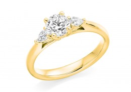 18ct Yellow Gold Pear & Round Brilliant Cut Diamond Trilogy Ring 0.70ct
