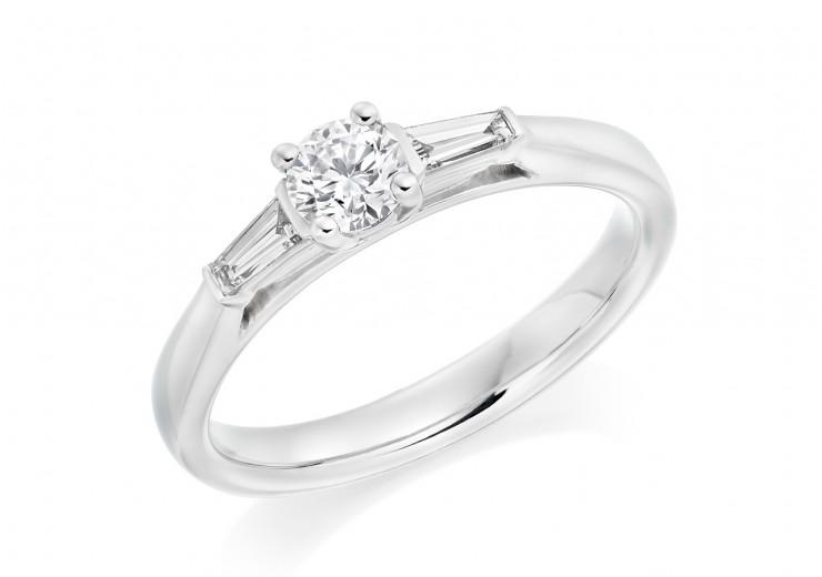 18ct White Gold Baguette & Round Brilliant Cut Diamond Trilogy Ring 0.40ct