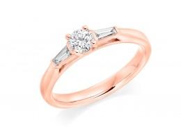 18ct Rose Gold Baguette & Round Brilliant Cut Diamond Trilogy Ring 0.40ct