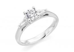 18ct White Gold Round Brilliant & Baguette Cut Diamond Trilogy Ring 0.80ct