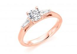 18ct Rose Gold Round Brilliant & Baguette Cut Diamond Trilogy Ring 0.80ct