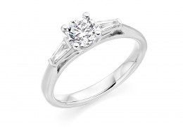 18ct White Gold Baguette & Round Brilliant Cut Diamond Trilogy Ring 1.22ct