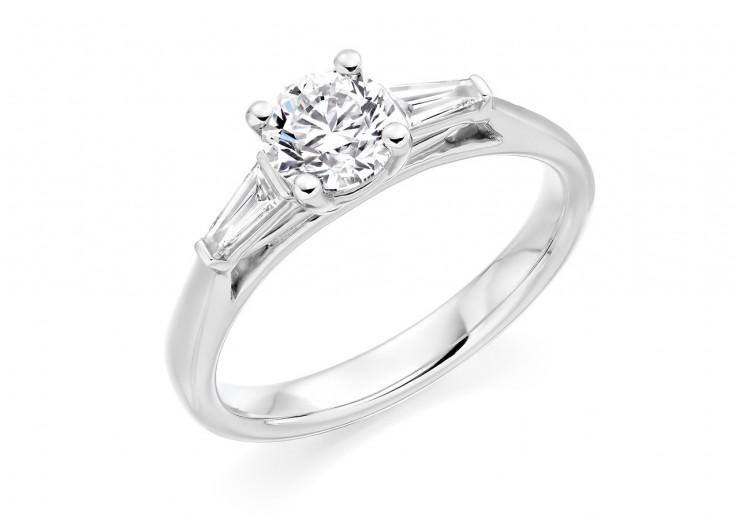 18ct White Gold Baguette & Round Brilliant Cut Diamond Trilogy Ring 1.22ct