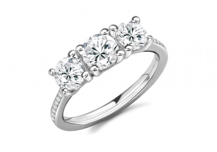18ct White Gold Round Brilliant Cut Diamond Trilogy Ring 2.05ct