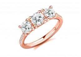 18ct Rose Gold Round Brilliant Cut Diamond Trilogy Ring 2.05ct