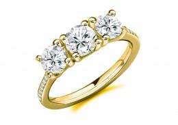 18ct Yellow Gold Round Brilliant Cut Diamond Trilogy Ring 2.05ct