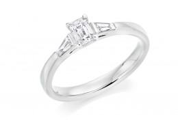18ct White Gold Emerald & Baguette Cut Diamond Trilogy Ring 0.48ct