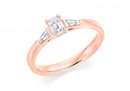 18ct Rose Gold Emerald & Baguette Cut Diamond Trilogy Ring 0.48ct