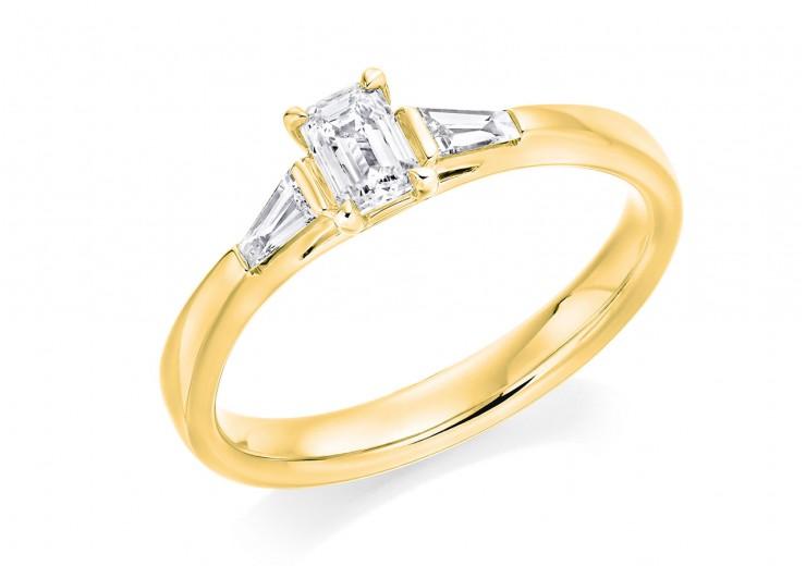 18ct Yellow Gold Emerald & Baguette Cut Diamond Trilogy Ring 0.48ct