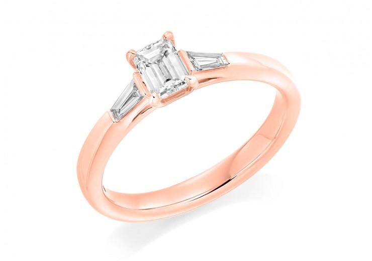 18ct Rose Gold Emerald & Baguette Cut Diamond Trilogy Ring 0.58ct