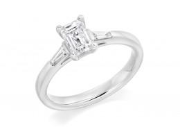 18ct White Gold Emerald & Baguette Cut Diamond Trilogy Ring 0.90ct