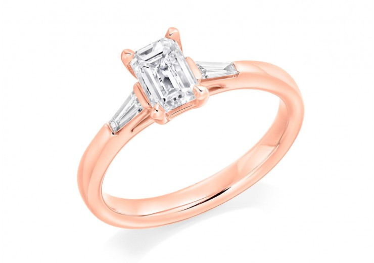 18ct Rose Gold Emerald & Baguette Cut Diamond Trilogy Ring 0.90ct
