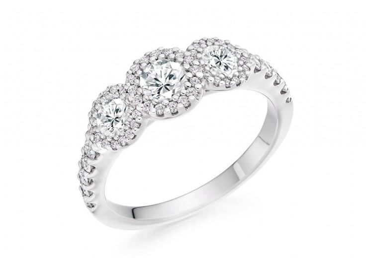18ct White Gold Round Brilliant Cut Diamond Trilogy Halo Ring 1.10ct