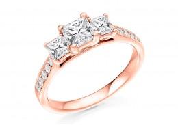 18ct Rose Gold Princess & Round Brilliant Cut Diamond Trilogy Ring 0.80ct