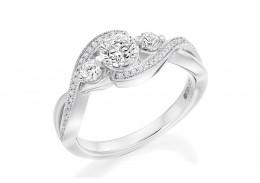 18ct White Gold Round Brilliant Cut Diamond Trilogy Twist Ring 0.90ct