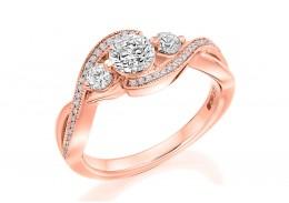18ct Rose Gold Round Brilliant Cut Diamond Trilogy Twist Ring 0.90ct