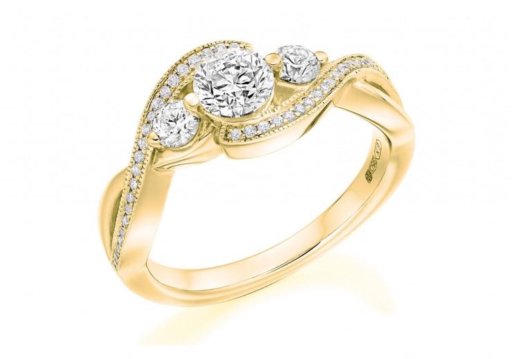 18ct Yellow Gold Round Brilliant Cut Diamond Trilogy Twist Ring 0.90ct