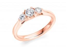 18ct Rose Gold Round Brilliant Cut Diamond Trilogy Ring 0.55ct