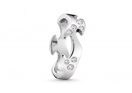 Georg Jensen 18ct White Gold & Diamond Centre Ring 0.16ct