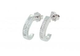 Pre-owned 18ct White Gold Diamond Half Hoop Earrings